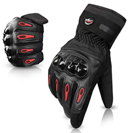 Greatever グローブ 手袋 バイク用グローブ タッチパネル対応 防寒対策 裏起毛 防風 防水 オートバイ 自転車 サイクル 登山 スキー メンズ (黒, XL)