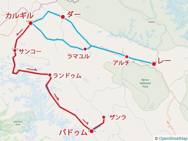カルギルからザンスカール 地図